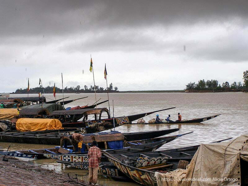 río niger y pinazas en la orilla