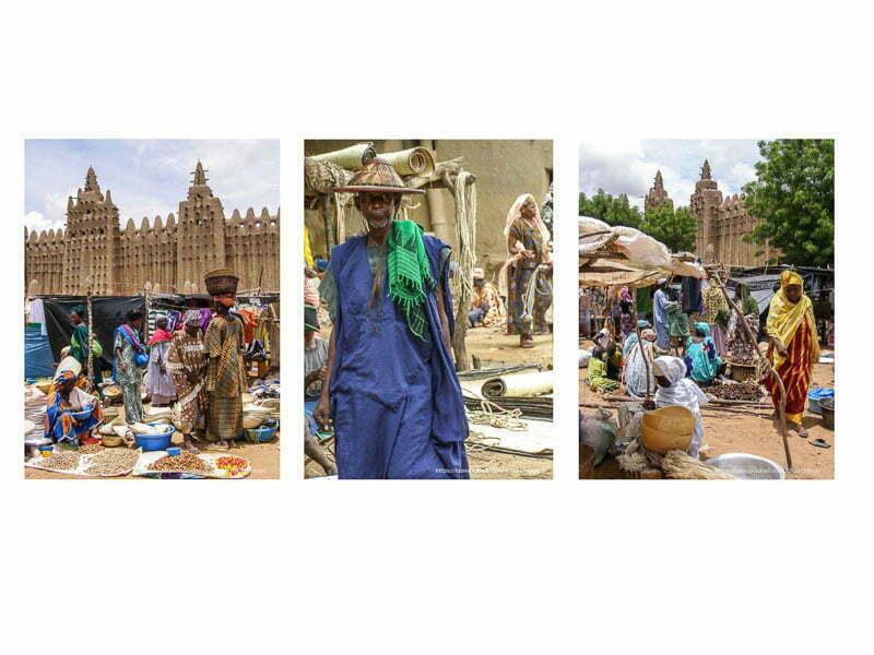collage con tres fotos del mercado de Djenne