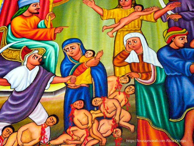 pintura religiosa representando herodes y el asesinato de bebés en lago tana