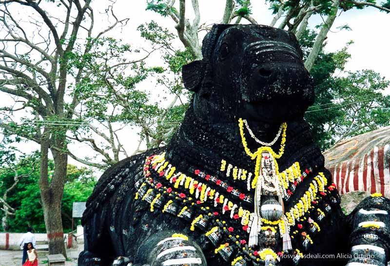 dios con forma de toro en piedra negra con collares de flores en mysore