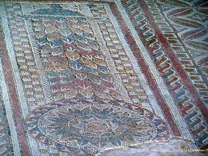 mosaicos de colores con motivos vegetales en el parque arqueológico de carranque