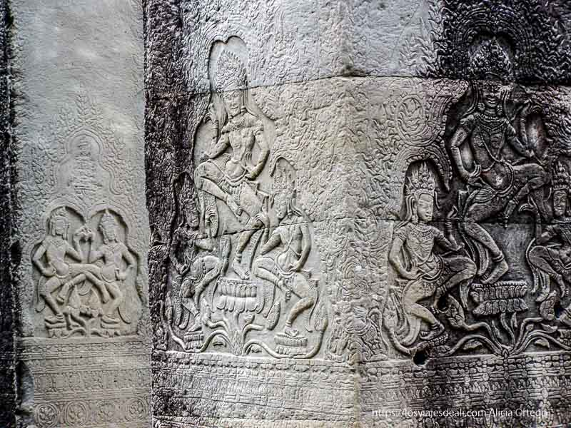 relieves danzarinas en bayon templos de angkor