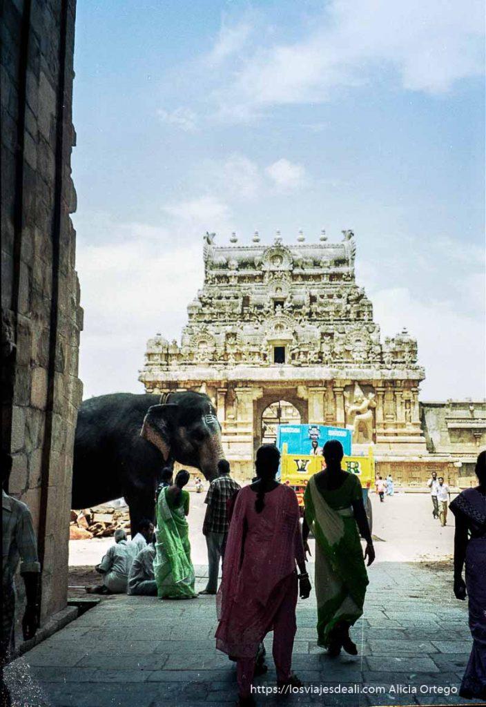 entrada al templo de thanjavur con elefante de tamil nadu a kerala
