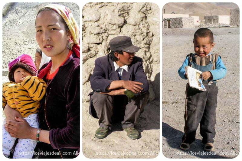 collage con mujer con su niño, chico acuclillado con gorra y niño enseñando su cuaderno del cole junto al lago karakul