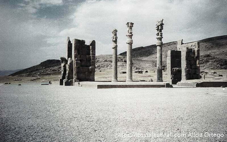 vista de la puerta de las naciones de persépolis con tres columnas detrás con capiteles