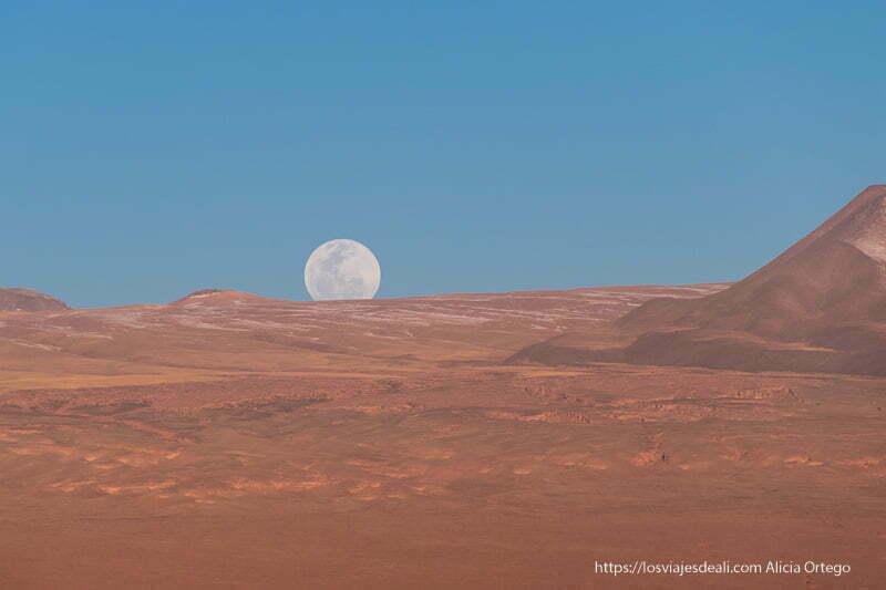 atardecer con luna llena saliendo por el horizonte San Pedro atacama