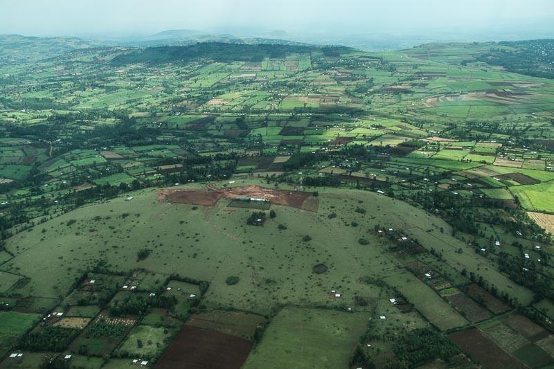 campos de cultivo en forma semicircular desde el aire