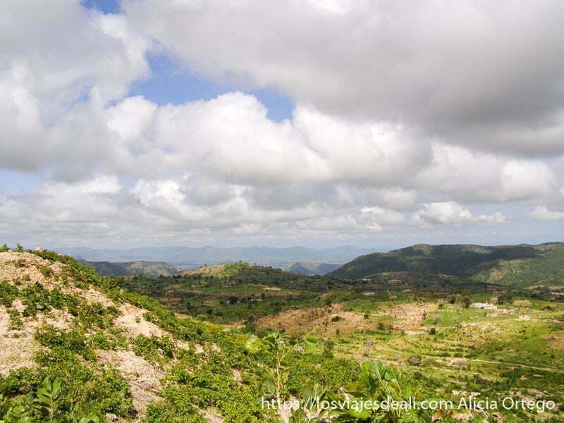 paisaje de campos cultivados en extremo norte de camerún