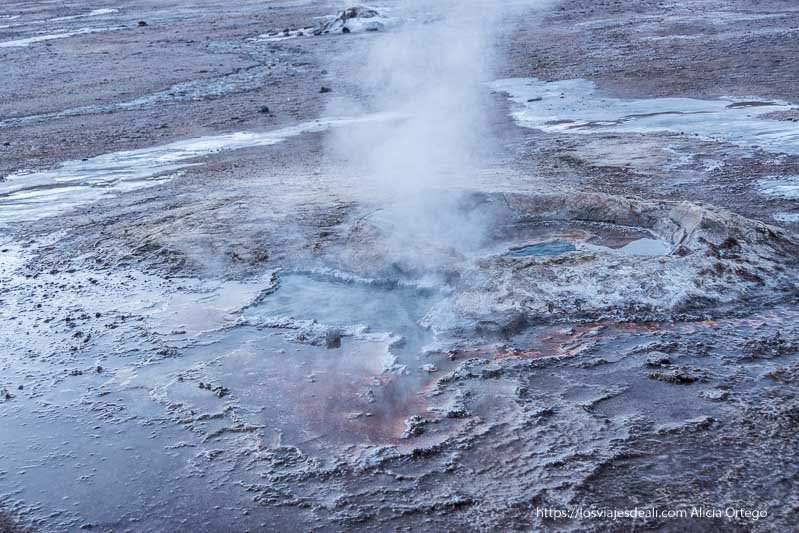 suelo de hielo y colores por los minerales de los geysers del tatio