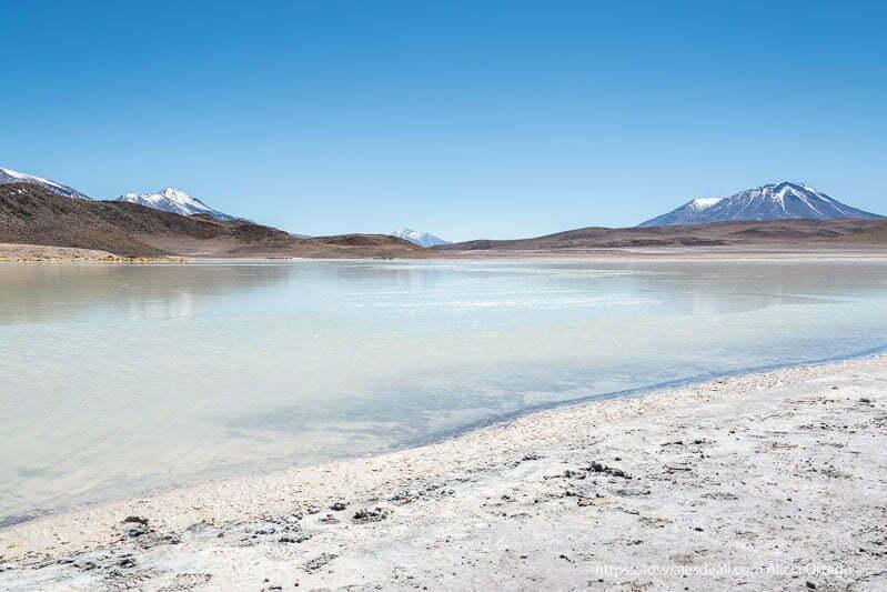 laguna honda de color azul turquesa con horizonte de volcanes y cielo muy azul en bolivia