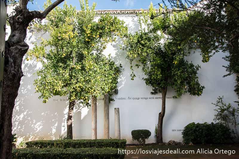 jardín con tres columnas antiguas y limoneros con frutos escapada a ronda