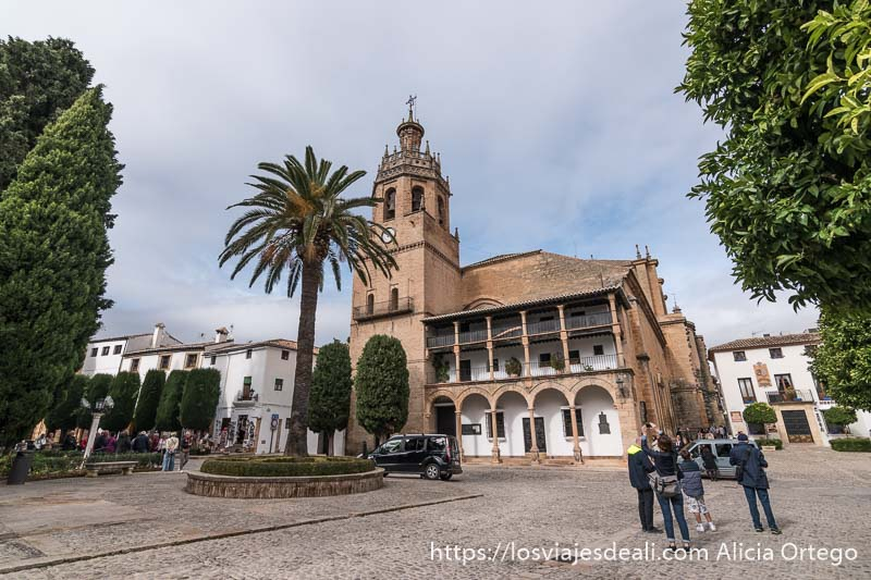 iglesia santa maría la mayor desde la plaza con palmera delante escapada a ronda
