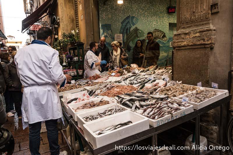 pescadería con producto expuesto en la calle al callejear por bolonia