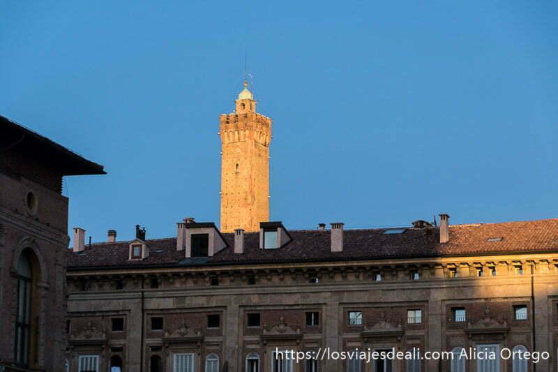 torre asinelli iluminada por sol del atardecer y palacio en primer plano