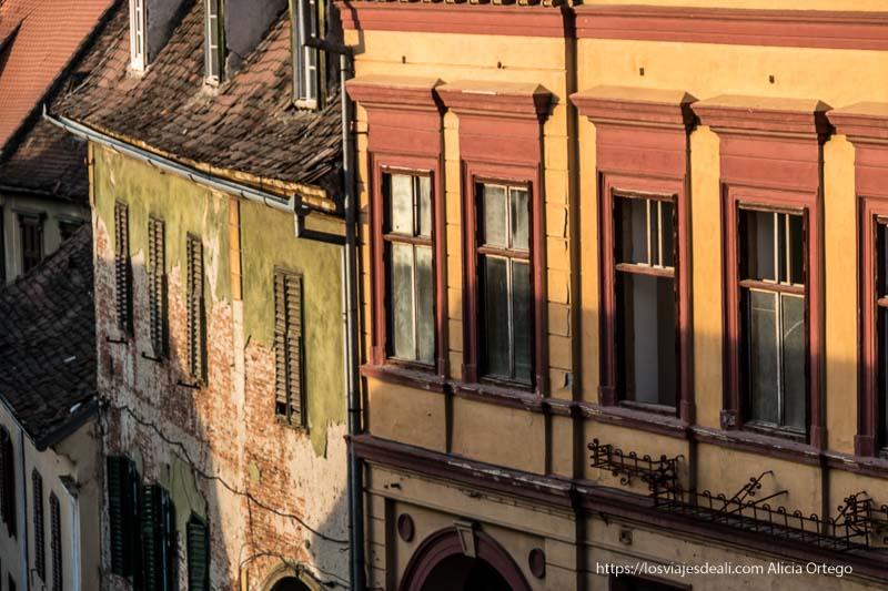 ventanas de edificios antiguos pintados de rojo, amarillo y verde en sibiu