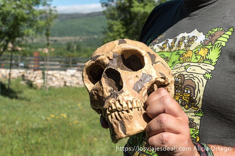 cráneo neandertal sostenido por la mano del guía