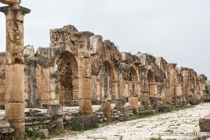 línea de columnas y arcos frente a la calzada romana en lo que fue el mercado de tiro