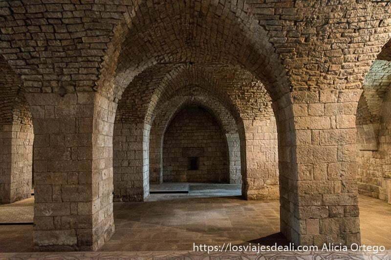 sala de establos de beiteddine todo en piedra con grandes columnas y bóvedas de crucería
