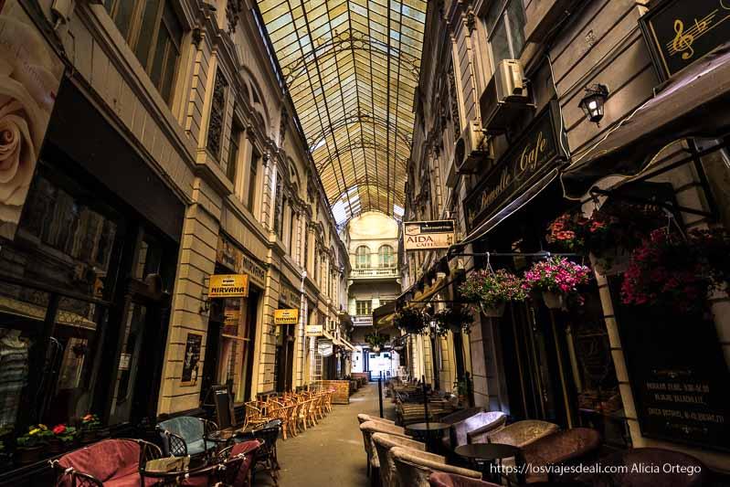 galería cubierta de cristales emplomados y llena de bares con terrazas y tiestos con flores en el centro de bucarest