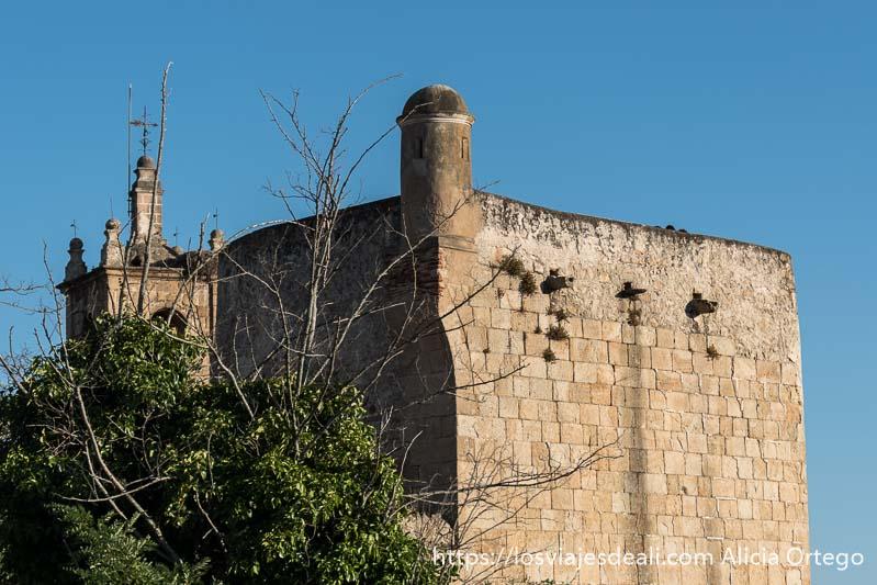 torre del homenaje con baluarte y campanario al lado en valencia de alcántara