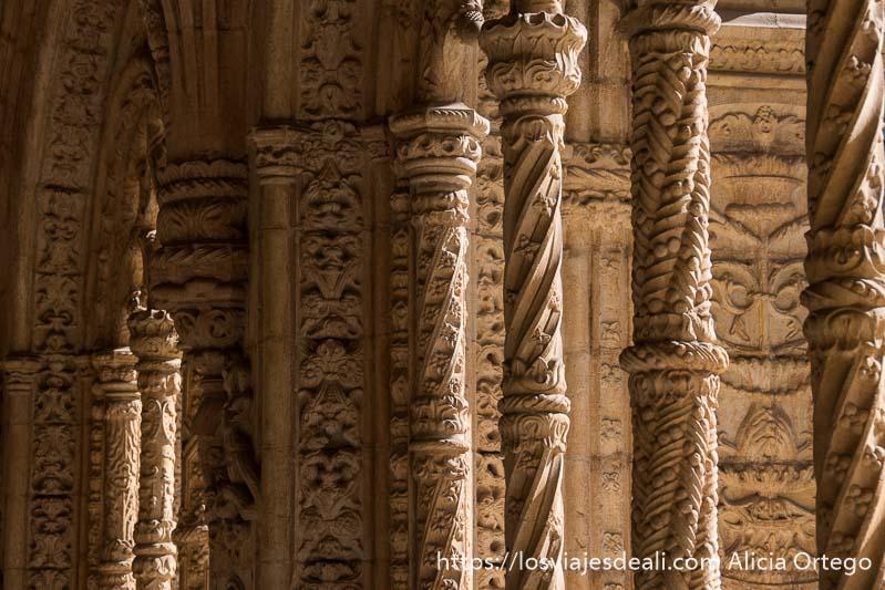 columnas llenas de relieves de bolitas y motivos vegetales en belem