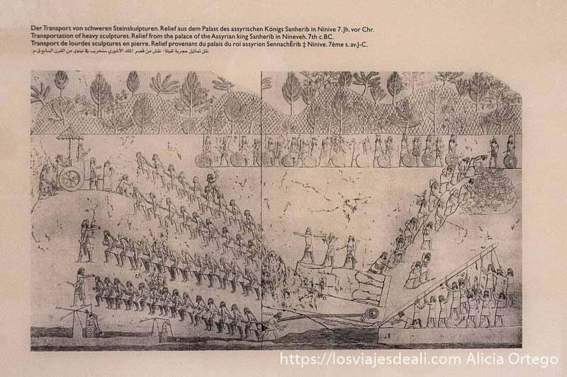 relieve asirio donde se ve cómo transportaban las grandes estatuas de piedra