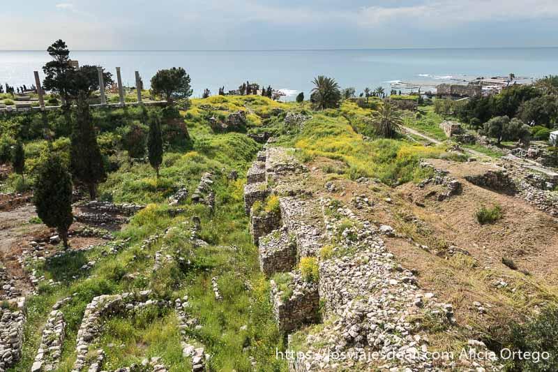 vista desde las murallas del castillo con muralla fenicia haciendo curva en perpendicular al mar en la ciudad antigua de byblos