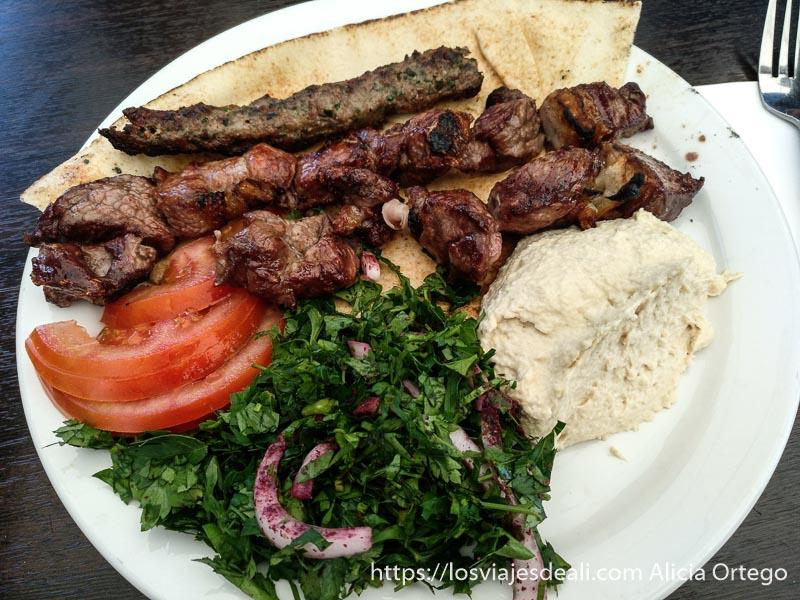 plato con carne a la brasa, hummus, ensalada en el valle de bekaa
