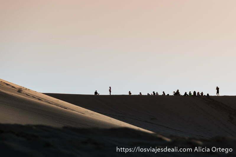 fila de gente en la parte más alta de una de las dunas del desierto del gobi