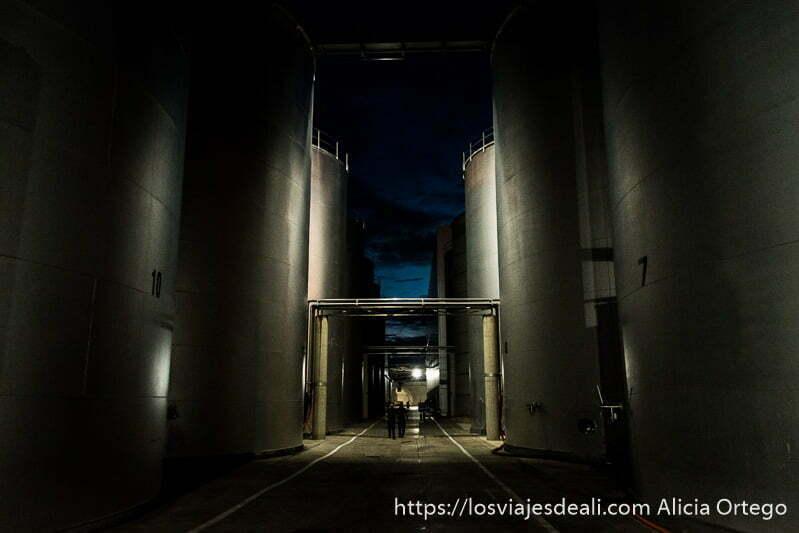 depósitos enormes de acero inoxidable donde se hace el vino en la experiencia en la vendimia