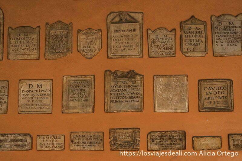 pared llena de lápidas de piedra con nombres romanos imprescindibles de bolonia