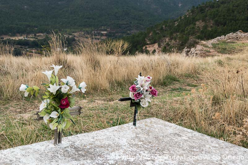 dos tumbas juntas con flores de plástico de color blanco y rosa en el borde del alto de riópar viejo con paisaje de árboles detrás