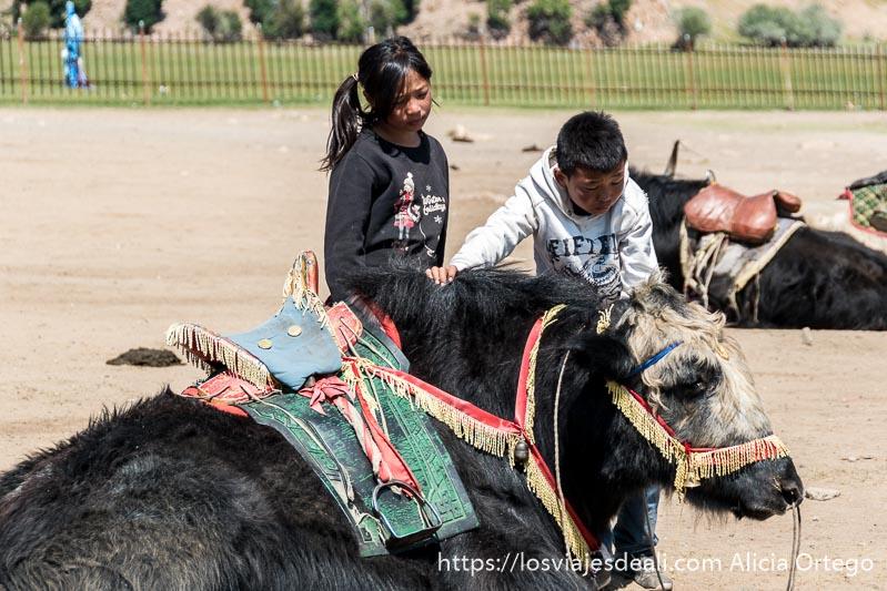 dos niños acariciando a un yac tumbado en el suelo en mongolia central
