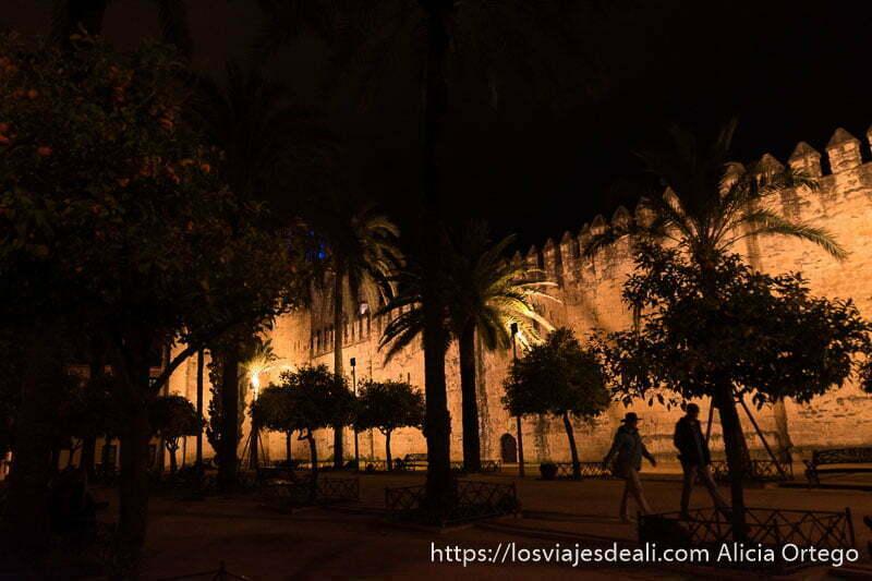 murallas del alcázar iluminadas por la noche con siluetas de árboles delante visitar córdoba