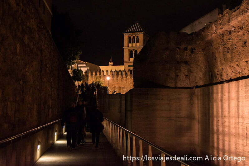 paseo junto a la muralla de córdoba con torre al fondo por la noche