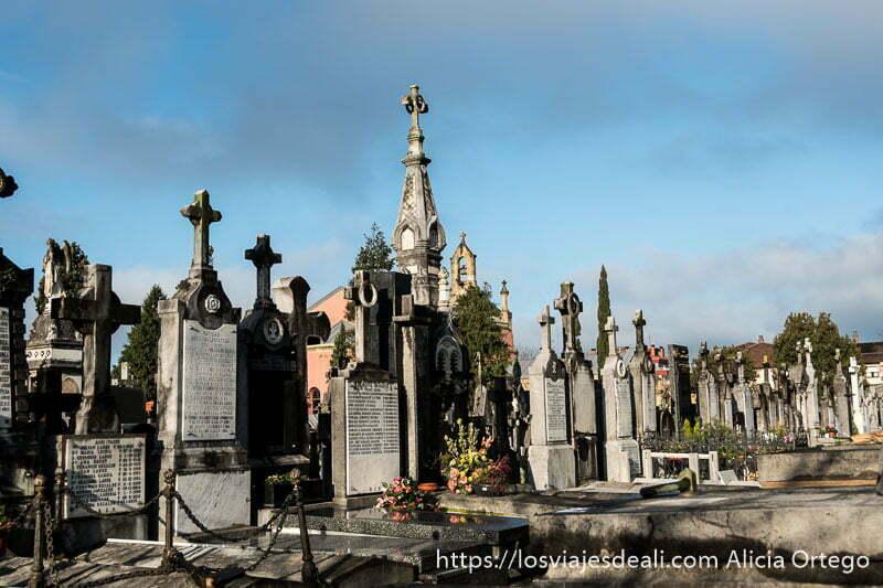 tumbas del cementerio de polloe de color gris y algunos mausoleos
