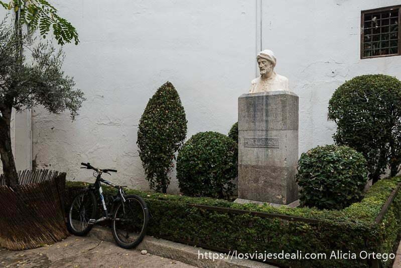 busto de hombre con turbante entre setos verdes y una bicicleta apoyada al lado en la judería