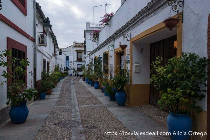 calle del barrio de san blas de Córdoba con casas pintadas de blanco y suelo empedrado