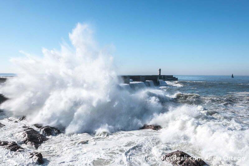 gran ola chocando en las rocas y levantando una columna de espuma muy alta