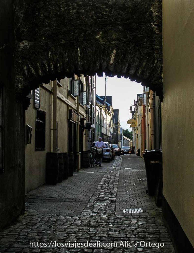 calle estrecha con arco de piedras y al fondo hilera de casas en Kennmare